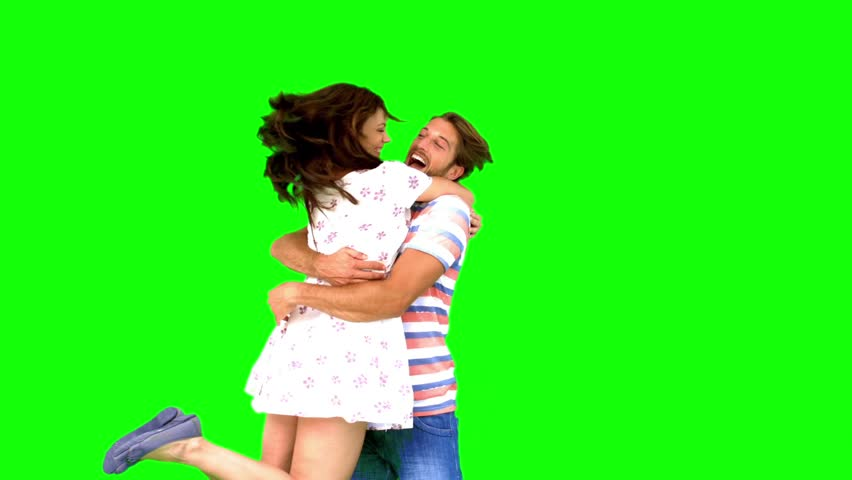 Couple meeting again on green screen in slow motion | Shutterstock Video #4050373