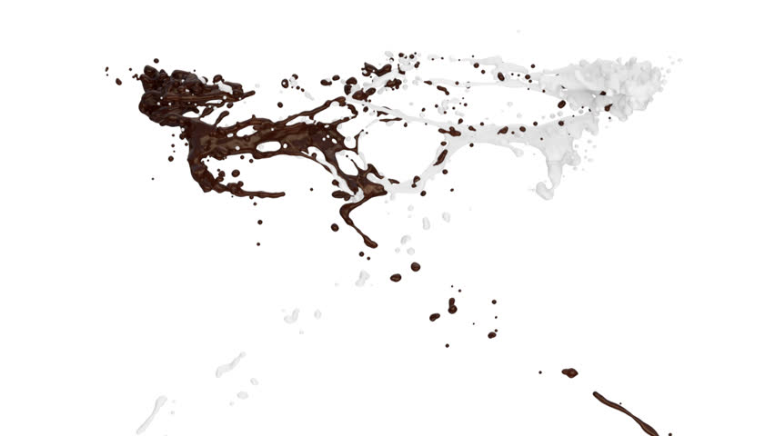 chocolate and milk splashes collide in slow motion, alpha channel included (FULL HD)