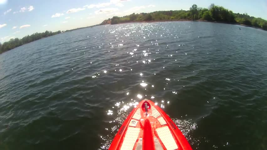 POINT OF VIEW ON SUP STAND UP PADDLE BOARD PADDLE-BOARD  ENJOYING A BEAUTIFUL SUMMER DAY ON THE LAKE WATER HIGH DEFINITION POV WIDE ANGLE 1080 HD 1920X1080
