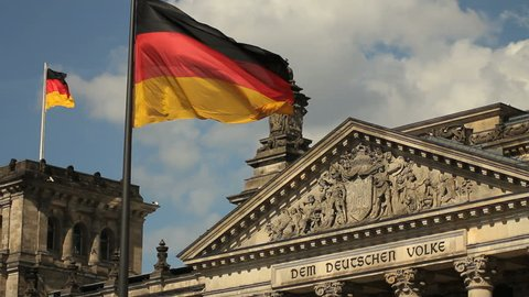 German flags fluttering at the Reichstag, Berlin