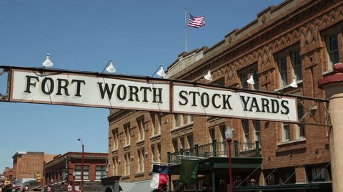 FORT WORTH, TEXAS/USA - MAY 09: Fort Worth Stockyards sign on May 09, 2013 in Fort Worth. The sign is at the entrance to East Exchange Avenue.