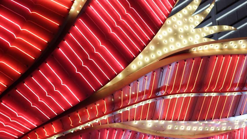 LAS VEGAS, USA - APRIL 2, 2013 Nightlife, Flamingo Hotel Casino Lights Display, Las Vegas Strip, Red Neon