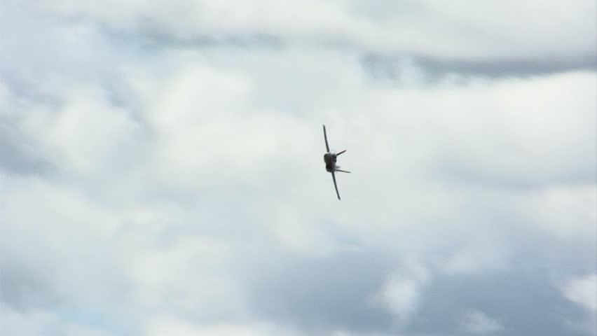 US Navy fighter jet in flight.