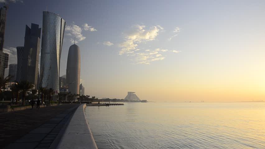 DOHA, QATAR - CIRCA 2011 - Newly built Skyline along The Corniche, left to right Palm Tower, Al Bidda Tower and Burj Qatar
