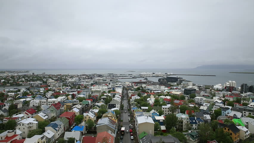 Aerial view of downtown in Reykjavik, Iceland | Shutterstock HD Video #4176373