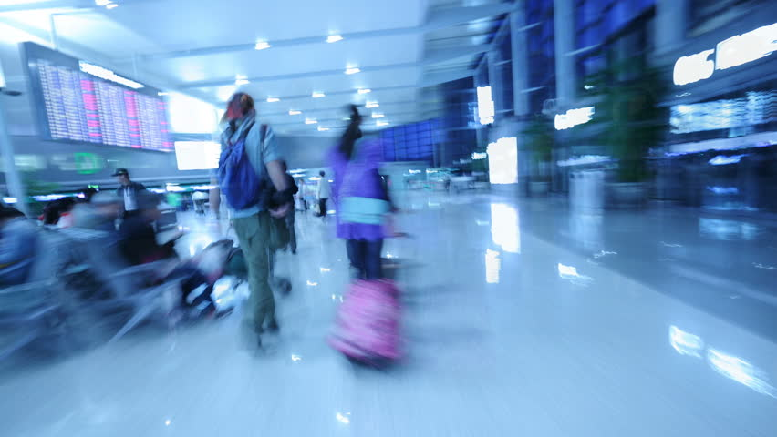 SHANGHAI - APRIL 21 2012 : Hyper-move: Passengers hurrying in the Shanghai airport, China., Time-lapse(Tracking Shot). | Shutterstock HD Video #4176493