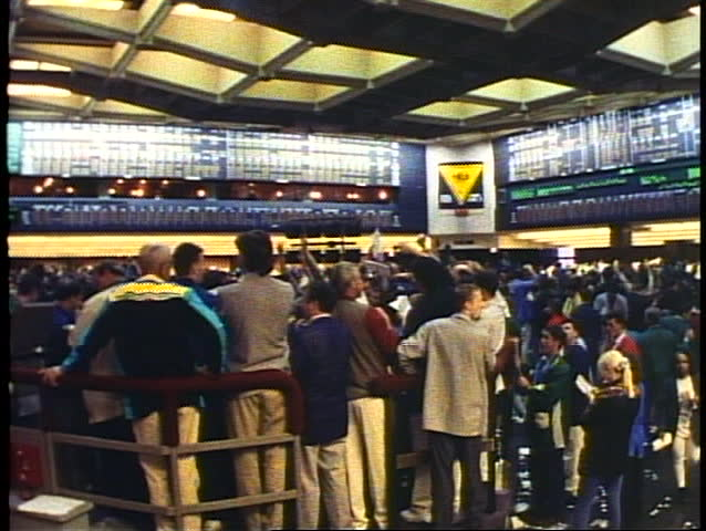 CHICAGO - ILLINOIS - CIRCA - 1994: Interior Chicago Board of Trade floor, very active, wide shot, Chicago, Illinois