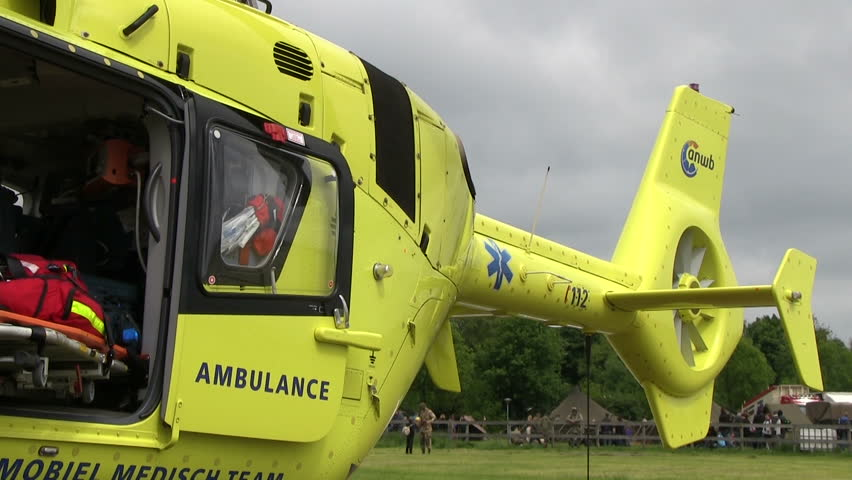 Ambulance helicopter with open doors