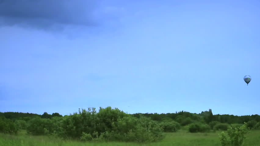 Air balloon flight landscape view, time-lapse