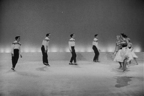 1950s - Men and women demonstrate American folk dances in the 1950s