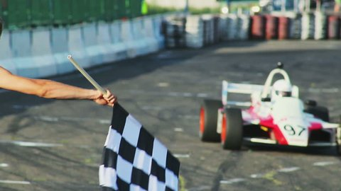 KIEV, UKRAINE - JUNE 15, 2013: Formula 1 F1 finishing checkered flag for race. Finish symbol, competition.