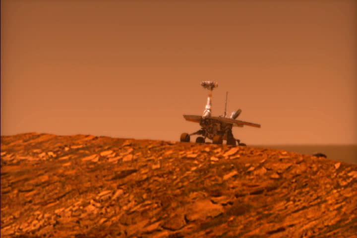 Mars rover Opportunity rolls into Endurance Crater. Animation.