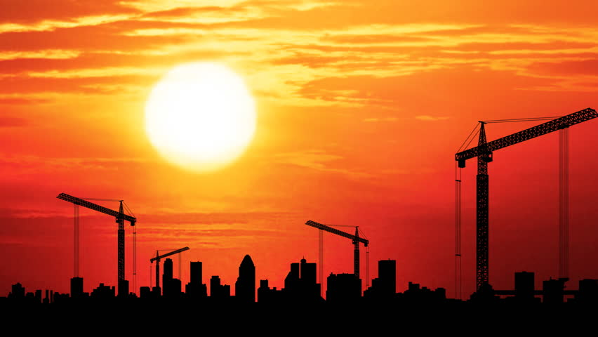 Time Lapse Of Construction At Sunset With City In The Background Stock Footage Video 423202