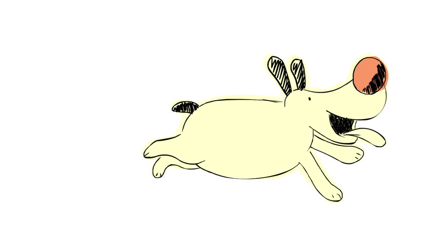 yellow dog running barking resting scratching cartoon animation