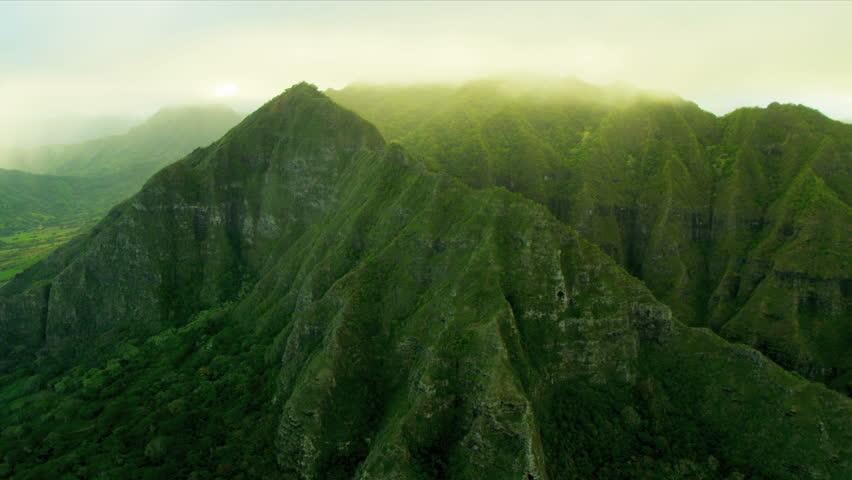 Aerial view Koolau mountain Range, Hawaii