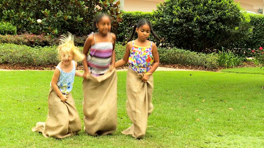 Little African American Caucasian Girls Taking Part In Fun -8904