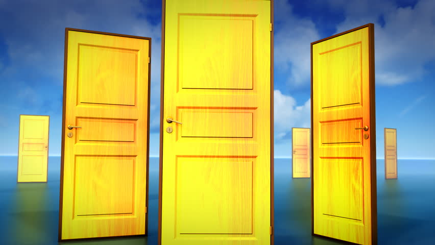 Multiple doors to choose, one leads to opportunity. Chroma key added.
