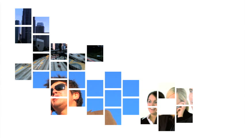 Collage of business & communication moving graphics