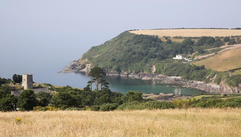Talland Bay village between Looe and Polperro Cornwall England UK on a beautiful sunny day