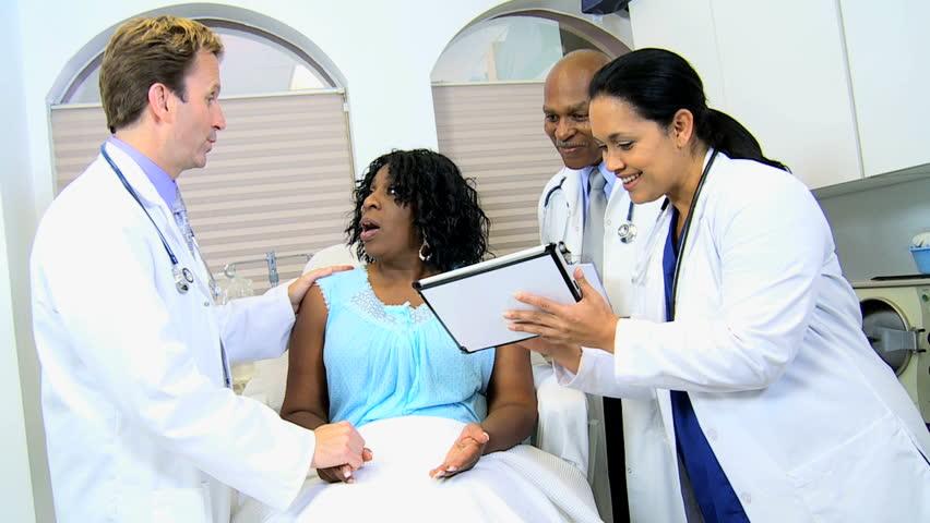 Multi Ethnic Male Radiologists Hispanic Nurse Showing Senior Ethnic Female Latest X -8081