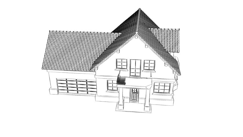 Line Art House : A technical drawing turns into new house stock footage video