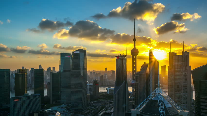 """Time lapse of the modern buildings in Shanghai China viewed from skyscraper of Pudong .- (seamless connection clip ID: 4348670)    >>> Please search similar:   """"ShanghaiSkyline"""""""