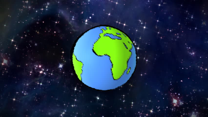 A Cartoon Spinning Earth. This Animation Is A Seamless