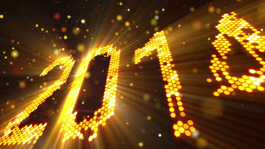 Greeting new year 2014 of shining yellow elements   Shutterstock HD Video #4386419