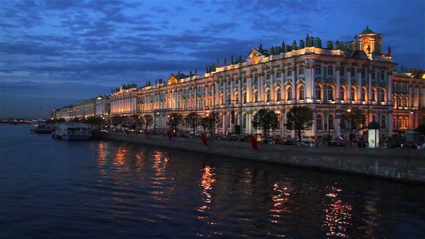 Saint Petersburg, Winter Palace at dusk, view from Palace bridge.