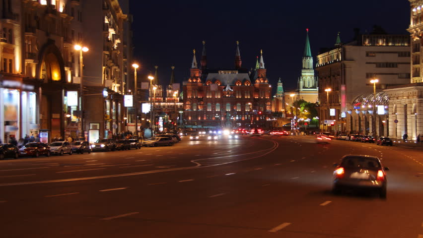 Moscow, night view from Tverskaya street toward Kremlin, time-lapse.
