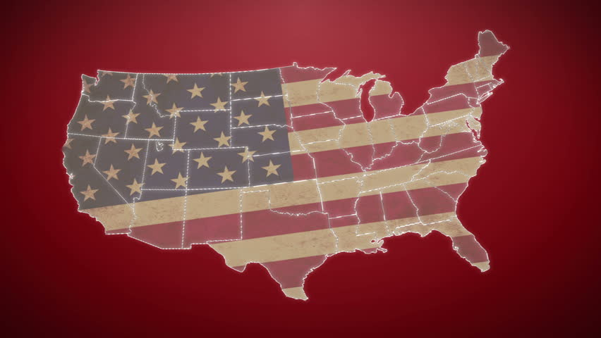 Separated United States map with US flag, red background