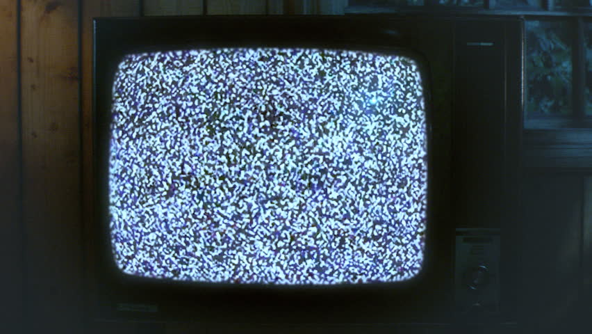 Spooky halloween TV with static.