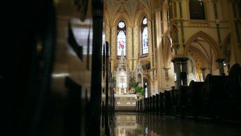 Interior of an old church altar.