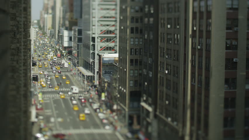 Overhead view of traffic in New York on a bright morning. In slow motion. | Shutterstock HD Video #4437803