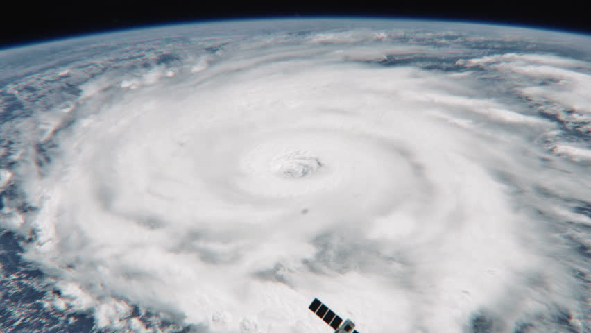 Amazing view of Hurricane with satellite - 24fps