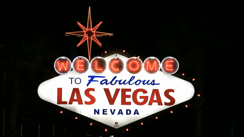Las Vegas famous Welcome sign. Night view of flashing bright colorful sign. Black background. HD 1080 video. Don Despain of Rekindle Photo. | Shutterstock HD Video #4458722