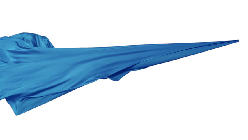 Blue fabric flowing in the air on white background shooting with high speed camera, phantom flex.