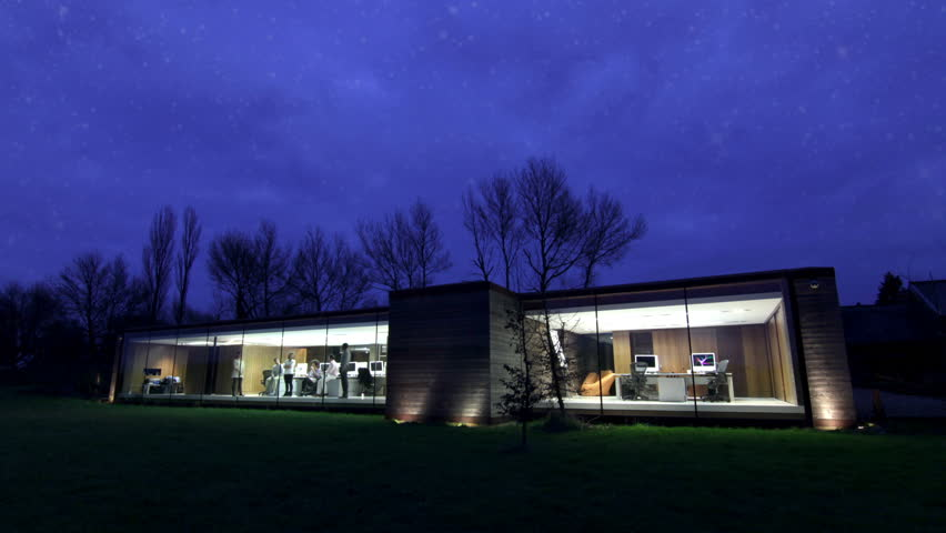 portrait of office in the country at night time lapse with stars casual young - Modern Architecture Hd
