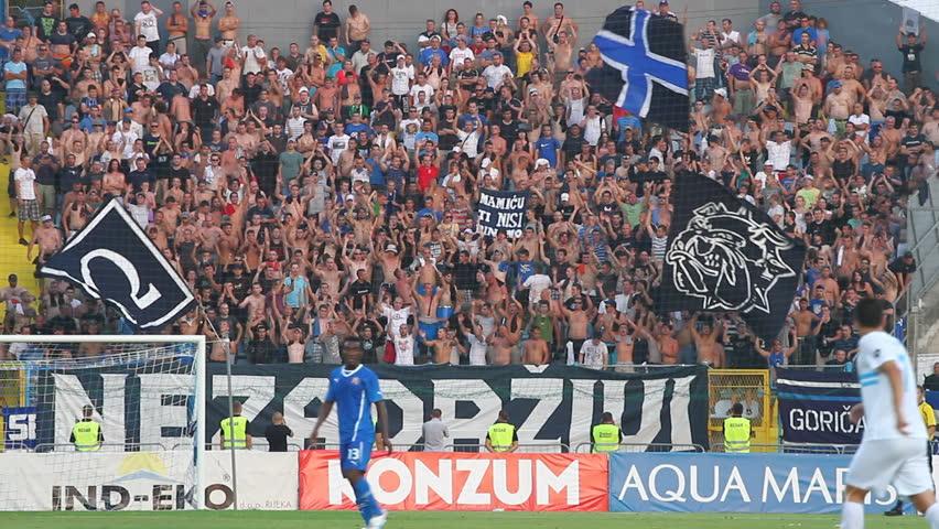 RIJEKA, CROATIA - JULY 28: soccer spectators or fans at derby match NK Rijeka against NK Dinamo on July 28, 2013 in Rijeka.