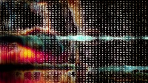 HD - Video Background 2086: Abstract digital data forms pulse and flicker (Loop).