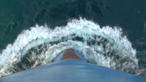 Beautiful view of the bow of a ship 'pushing' the water aside, on the Caspian Sea