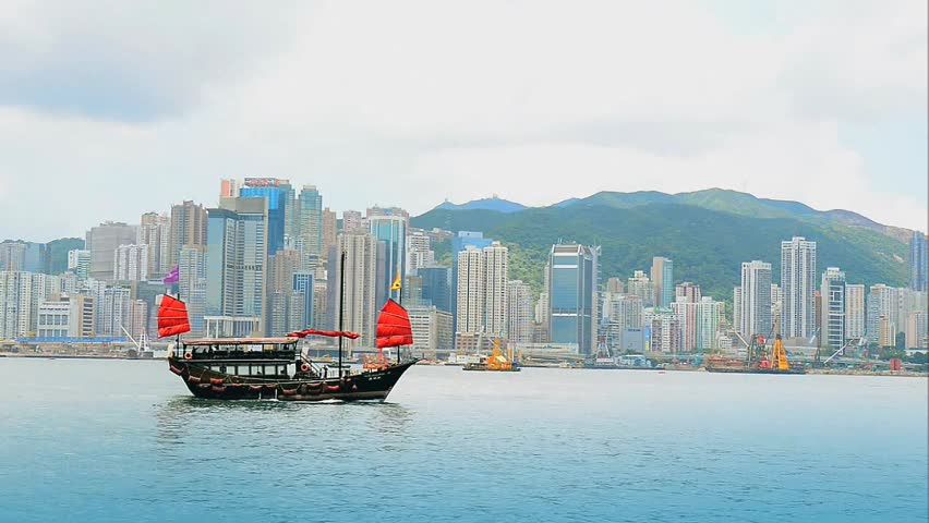 Junk boat with tourists in Hong Kong Victoria Harbour | Shutterstock HD Video #4516073