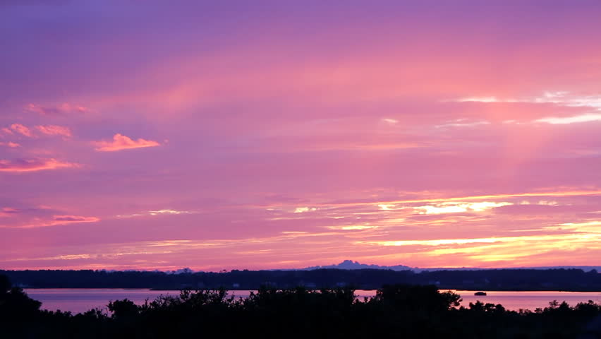 A beautiful sunset colorful sky on the Albemarle Sound on the outer banks of North Carolina