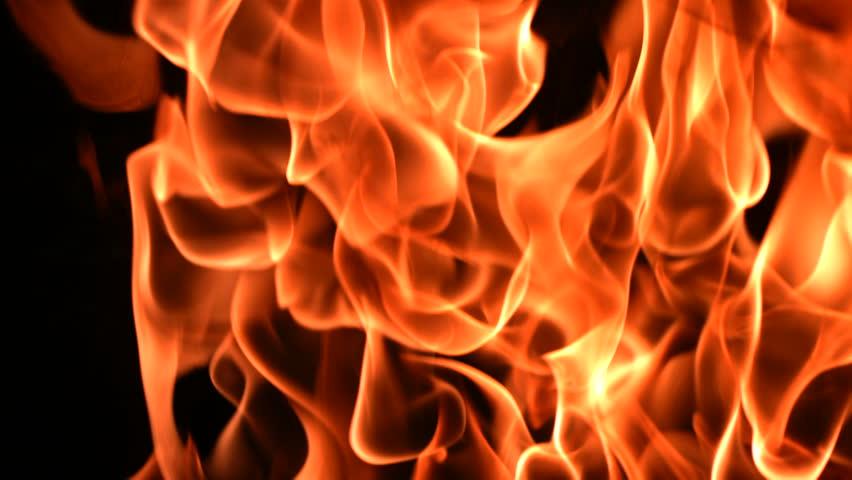 Flames burning, closeup, slow motion