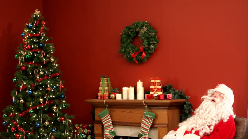 santa in living room picture stock clip of santa claus sleeping in living room 21511