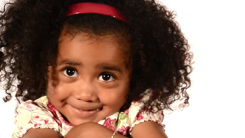 funny mixed race black and latino brazilian little girl isolated