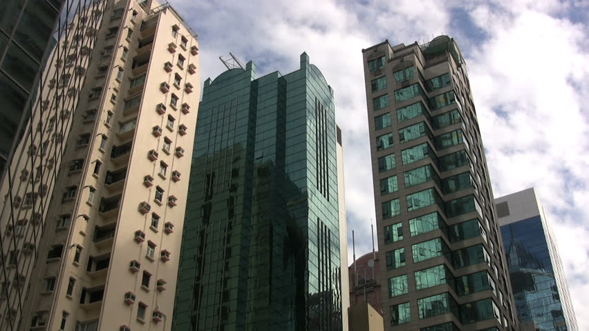 Hong Kong Pans Tall Buildings   HD Stock Footage Clip