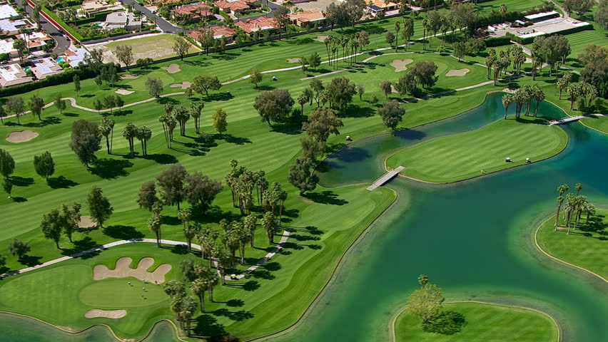 Aerial shot of a golf course, Palm Springs California
