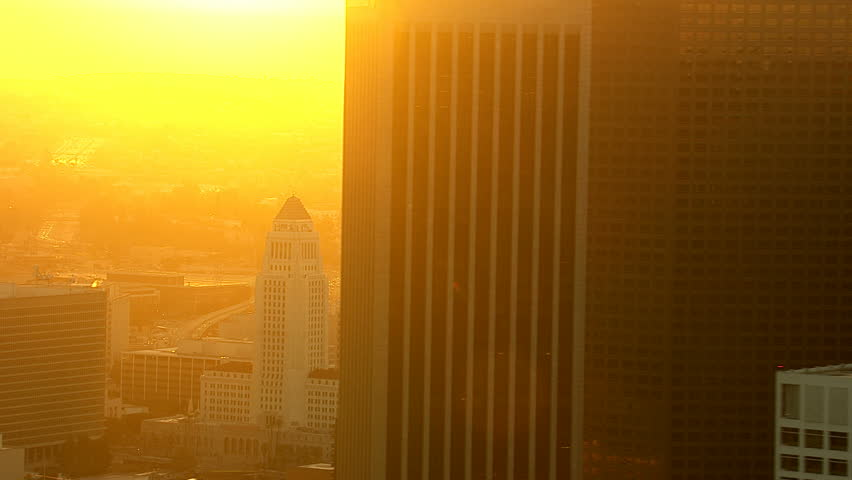 Aerial view of Los Angeles at sunrise