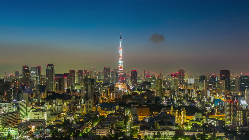 Timelapse view of Tokyo city from night to sunrise